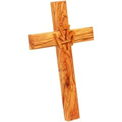 Olive Wood Wall Cross from Jerusalem with Holy Spirit Dove - Made in the Holy Land