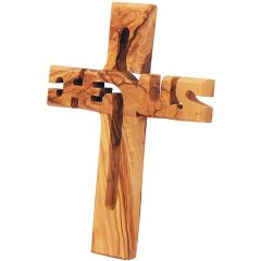 'Jesus Cross' in Olive Wood - Hand Made in the Holy Land