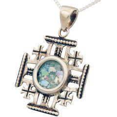 'Jerusalem Cross' Sterling Silver Pendant with Roman Glass Center