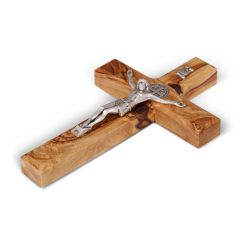 St. Saint Benedict Wall Wood Cross Crucifix Silver Plated Handmade