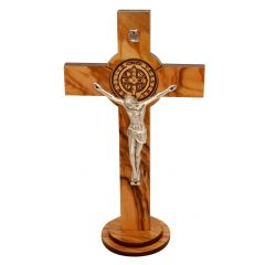 St. Saint Benedict Wall Wood Cross Crucifix Silver Plated engraving Handmade