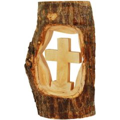 Cross Carved from Olive Wood Branch