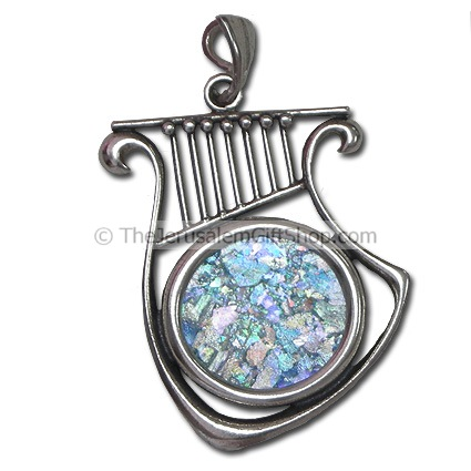 King David Harp Roman Glass Pendant