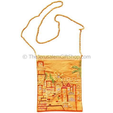 Raw Silk Embroidered Bag - Jerusalem of Gold Size: : 8 x 6 inches / 20 x 15cm. From Yair Emanuel's studio in Jerusalem Shipped to you direct from the Holy Land. #silk