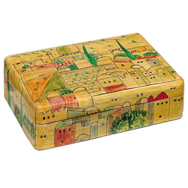 Yair Emanuel Hand-Painted Jewelry Box - Antique Finish - Jerusalem (medium)