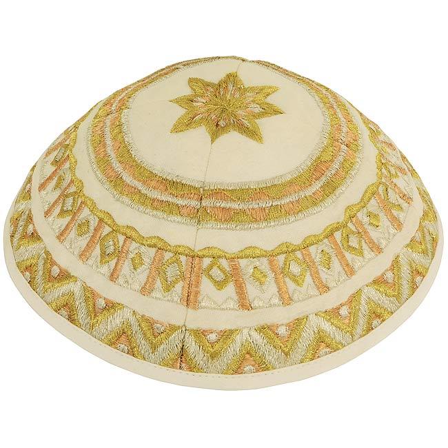 Dazzling design from renowned Israeli designer Yair Emanuel - Beautiful Gold Silk Thread Pattern Kippa / Yarmulke. Israeli Made.Size: 6 inch / 15 cm diameter approx.Silk threads on cotton. Kippah shipped to you direct from the Holy Land. #silk