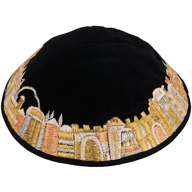 Dazzling design from renowned Israeli designer Yair Emanuel - Beautiful tones of gold silk thread velvet Kippa / Yarmulke featuring Jerusalem scenes. Israeli Made.Size: 6 inch / 15 cm diameter approx.Silk threads on cotton. Kippah shipped to you direct fr #silk