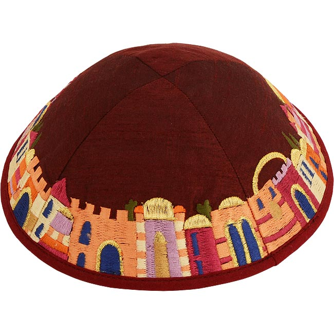 Dazzling design from renowned Israeli designer Yair Emanuel - Beautiful silk thread on wine color Kippa / Yarmulke featuring Jerusalem scenes. Israeli Made.Size: 6 inch / 15 cm diameter approx.Silk threads on cotton. Kippah shipped to you direct from the #silk