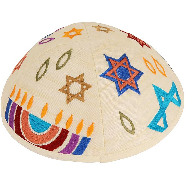Dazzling design from renowned Israeli designer Yair Emanuel - Beautifully colored silk threads on an Off-White Cotton Kippa / Yarmulke featuring the Star of David in various colors and a Menorah. Israeli Made.Size: 6 inch / 15 cm diameter approx.Silk thre #silk