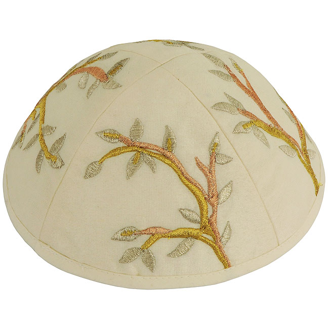 Dazzling design from renowned Israeli designer Yair Emanuel - Beautifully embroidered with gold and silver silk thread 'Tree of Life' design on a white cotton Kippa / Yarmulke. Israeli Made.Size: 6 inch / 15 cm diameter approx.Silk threads on cotton. Kipp #silk