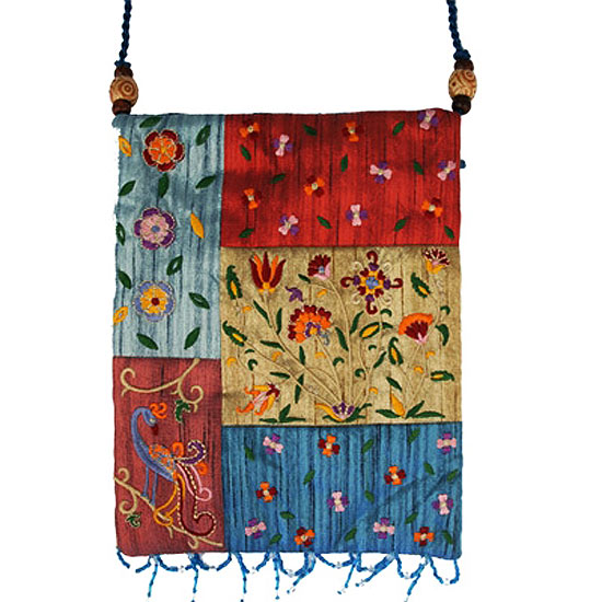 Beautifully designed women's silk patchwork bag by renowned Israeli artist Yair Emanuel featuring colorful patterns. Size: 9.5 x 7.5 inches / 23 x 18 cm.Color: Multicolor. This Women's bag can be used as a purse, a book bag or for cosmetics. Emanuel, a gr #silk