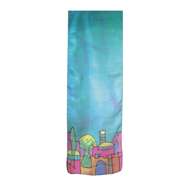 Beautiful woman's 100% pure silk scarves with biblical themes direct from the Holy Land. This turquoise scarf with hand painted 'Old City Jerusalem' design is a creation of world renowned Israeli artist Yair Emanuel. If I forget you, O Jerusalem, Let my r #silk