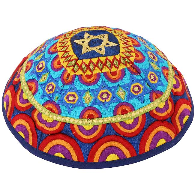 Dazzling design from renowned Israeli designer Yair Emanuel - Beautiful 'Star of David' Kippa / Yarmulke featuring strong colors of the rainbow. Israeli Made.Size: 6 inch / 15 cm diameter approx.Silk threads on cotton. Kippah shipped to you direct from th #silk