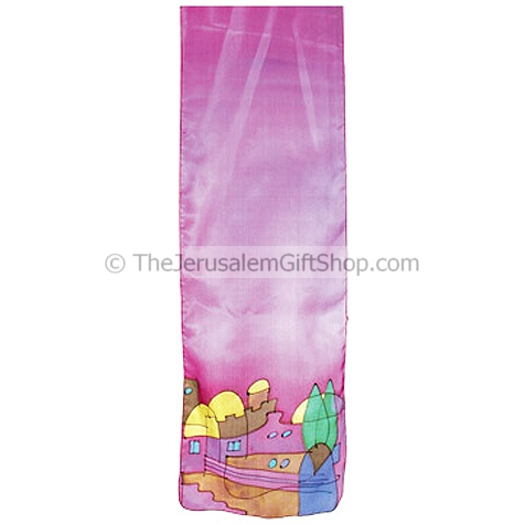 Silk Scarf with hand painted Jerusalem design from the studios of Israeli artist Yair Emanuel. Made in Jerusalem.Size: 63 x 7 inches. The fabric undergoes a fixation process to keep the scarfs colors separate and bright for many years of wear. Shipped dir #silk