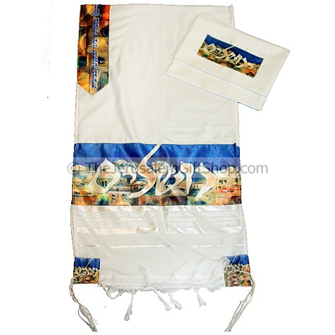 New design tallit from the Gabrieli studios in Jerusalem. Features a silk printed Jerusalem scene with Jerusalem written in Hebrew - by Israeli artist Victor Shrem. Comes with Talit bag. Size: 20 x 80 inch.Made from wool/acrylic mix.For Men or Women.Made #silk
