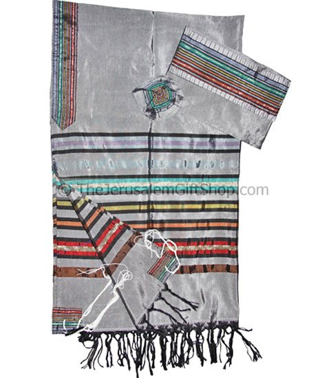 Bestseller! Gabrieli Silk Tallit set with colorful stripes on Grey from The Gabrieli studio in Jerusalem Set includes three matching pieces: Tallit.Kippa.Matching Bag. size: 20 x 80 inch made from pure silk of the highest qualitynote: these unique Tallit #silk