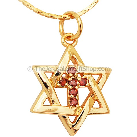 Cross inside Star of David - Gold Fill - Garnet