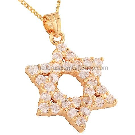 Goldfill Clear Zircon on Star of David Pendant by 'Marina'