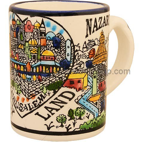 Hand painted ceramic mug with 'Holy Land' written in bold letters featuring colorful pictures from Jerusalem, Nazareth and Bethlehem. Made in Jerusalem.Size: 4 inches high. Shipped to you direct from Israel. #mug