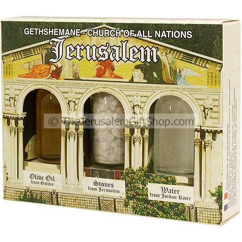 Holy Land Gift Pack - Gethshemane - Direct from the land where Jesus walked. Gift pack contains: Jordan River Water.Jerusalem's Stones.Galilee Olive Oil. Pack size: 4.5 x 3.5 inches approx. Comes in decorative presentation pack featuring a picture of The #gift