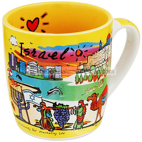 Brightly colored souvenir mug featuring Israeli tourist attractions includingJerusalem, Tel-Aviv and Eilat. Opposite side of mug is written 'Israel' with a big red heart above. Size: 3.8 inches / 9.5 cm high.Comes in gift presentation box. Shipped t #mug