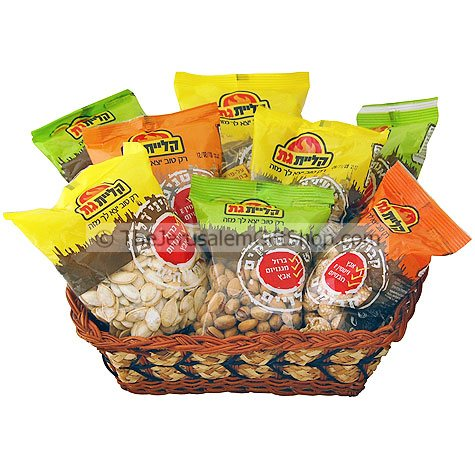 Seed and Nuts Gift Basket Packet weight - 200 gram each The favourite snacks for Israeli's Gift Basket includes:Roasted and Salted Sunflower SeedsRoasted and Salted Pumpkin SeedsRoasted and Salted Watermelon SeedsRoasted PistachiosOil Roasted Cashew NutsC #gift