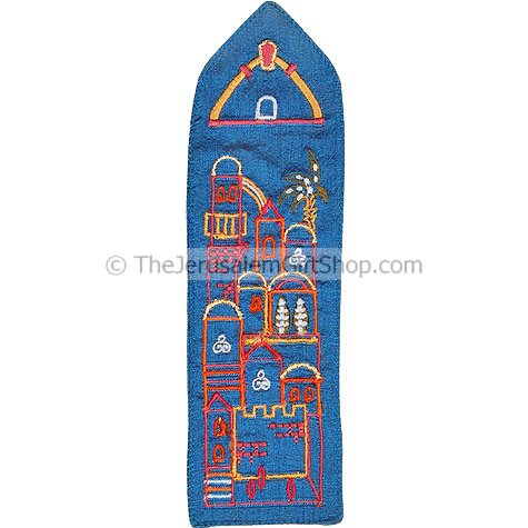 Upholstered in blue raw silk and embroidered with a beauitful multi-colored outline of the Holy city of Jerusalem this beautiful bookmark is the perfect way to keep your page in any book you read! Size: 8 inch approx #silk