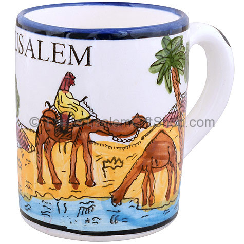Hand painted Armenian ceramic 'Camels' mug. Made in Jerusalem.Size: 4 inches / 10cm high. Picture features Bedouin riding their camels through the Israeli desert with palm trees. Shipped to you direct from the Holy Land. #mug