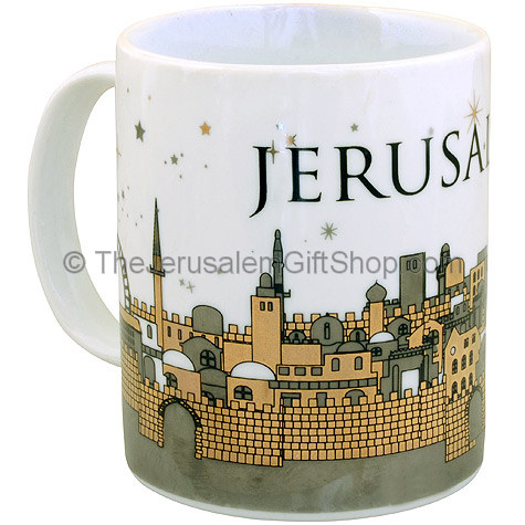 Great souvenir from the Holy Land 'Jerusalem' mug. Size: 4 inches / 10cm high. Picture features Jerusalem Old and New City scene with 'Jerusalem' written on the handle. Shipped to you direct from the Holy Land. #mug