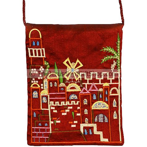 Raw Silk Embroidered Burgundy Bag featuring a Jerusalem cityscape. Size: : 8 x 6 inches / 20 x 15cm. From Yair Emanuel's studio in Jerusalem. Shipped to you direct from the Holy Land. #silk