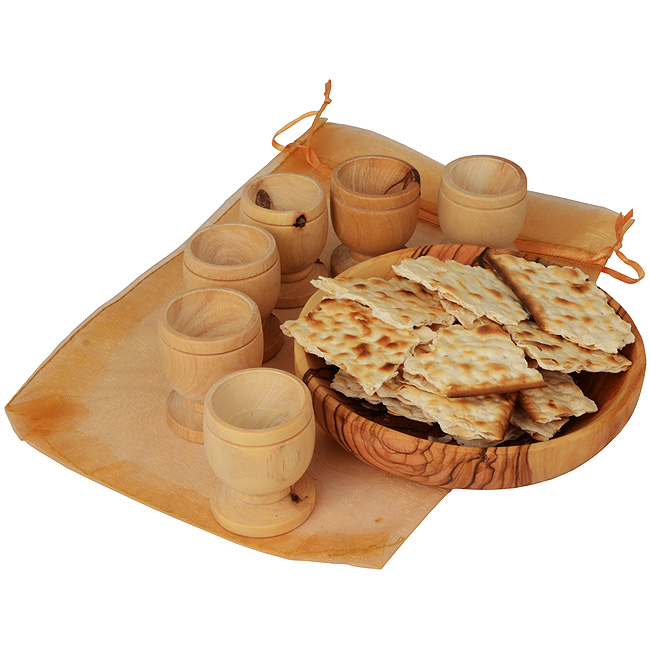 Hand made olive wood 'The Lord's Supper' set from the place of Jesus birth - Bethlehem (The House of Bread) - Includes a Bread Serving Tray with Six Cups presented in protective gift bag. ...DO THIS IN REMEMBRANCE OF ME. May this set bring a deeper meanin #gift