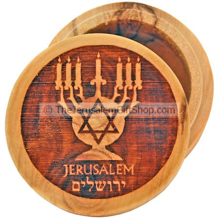 Pill Box Menorah Star David Olive Wood