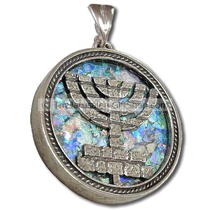 Roman Glass - Silver Menorah Pendant