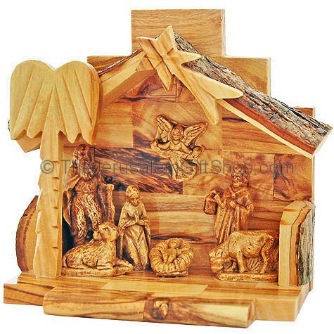 Nativity Scene - Mary Joseph and Jesus - Bethlehem Olive Wood