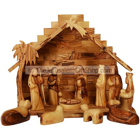 Faceless Large Olive Wood Nativity Set - 12 Piece