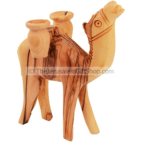 Olive Wood Camel Carrying Two Jars - Made in Bethlehem