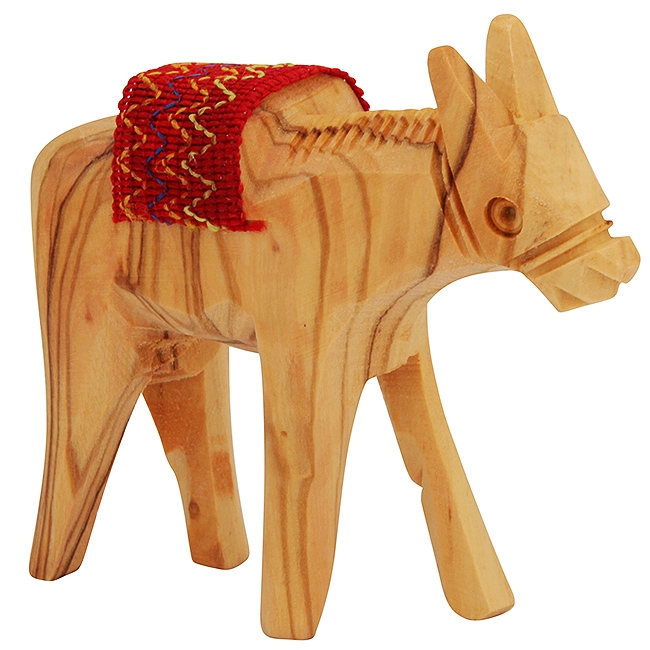 Olive Wood Donkey with Embroidered Sadle - Made in Bethlehem