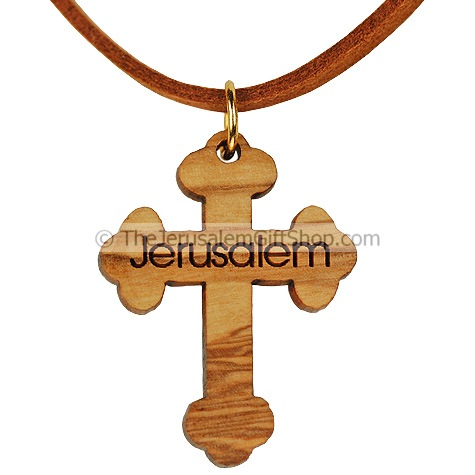 Olive Wood Cross Pendant - Jerusalem