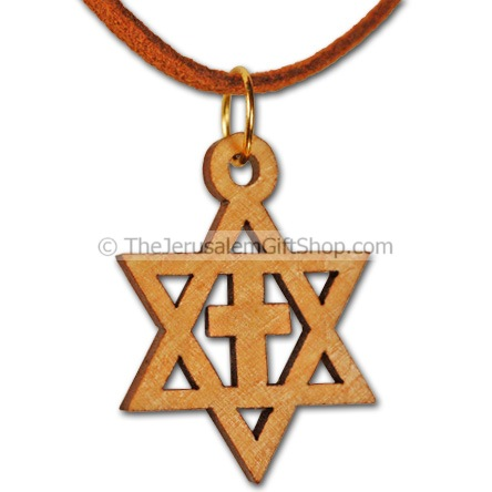 Olive Wood Star of David with Cross