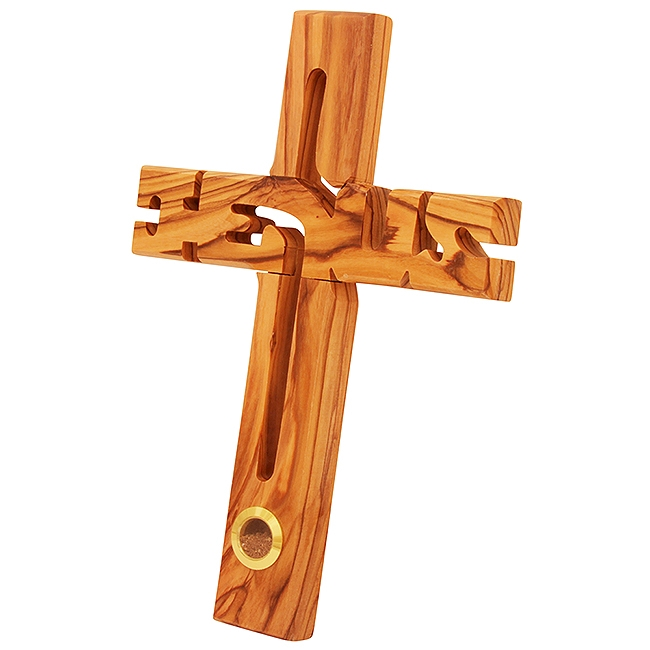 Jesus Cross in Olive Wood with Earth from Jerusalem in Glass Window...