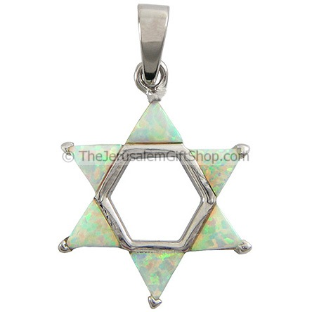 Star of David Light Opal Pendant