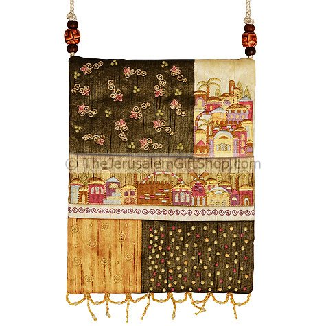 Beautifully designed women's silk patchwork bag by renowned Israeli artist Yair Emanuel featuring Jerusalem scene with the Montefiore Windmill. Size: 10 X 8 inches / 25 x 20cm.Color: Shades of gold. This Women's bag can be used as a purse, a book bag #silk