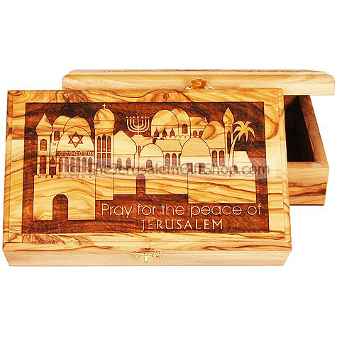 Large Olive Wood Box - Pray for the Peace of Jerusalem
