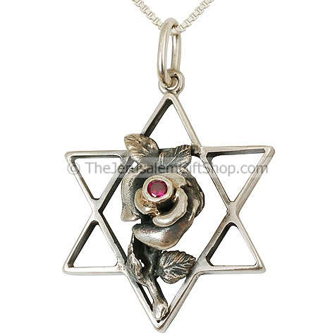Genuine Ruby 'Rose' on Silver Star of David Pendant