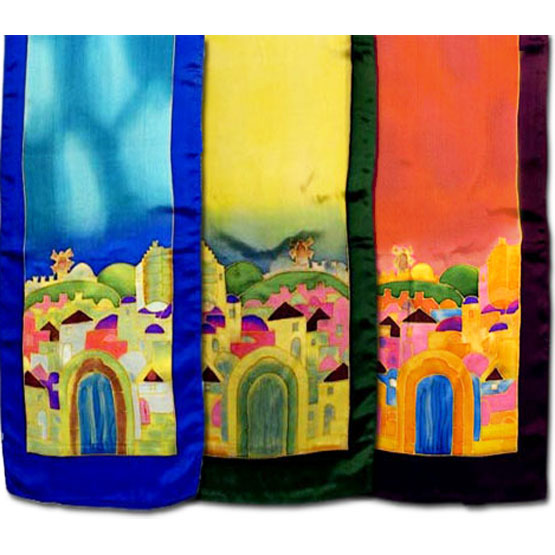 Painted Silk Scarf from the Holy Land of Israel The Jerusalem motifs are hand-painted on silk with unique colors using a brush. The fabric undergoes a fixation process to make it color-fast. Size: 60 inch X 12 inch Beautiful christian gift for any lover o #silk