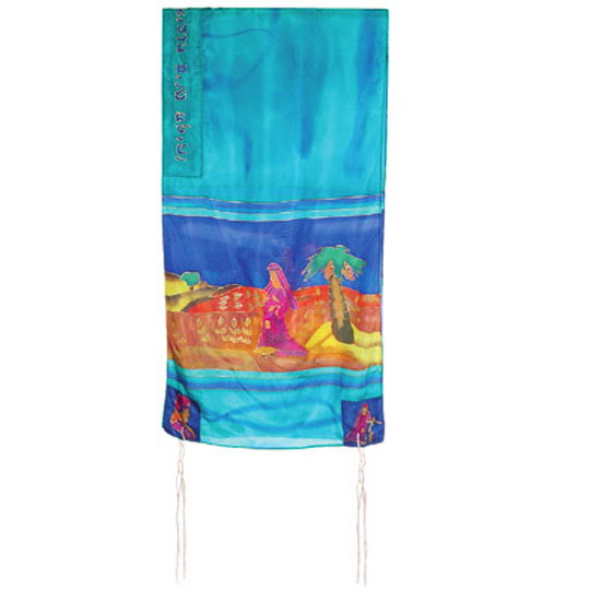 Beautifully designed silk Miriam and Deborah Tallit by renowned Israeli artist Yair Emanuel. Size: 21 x 77 inches / 52 x 192 cm.Color: Turquoise. Optional: matching bag and Kippa. Emanuel, a graduate of the Bezalel Academy of Art and Design, lives and wor #silk