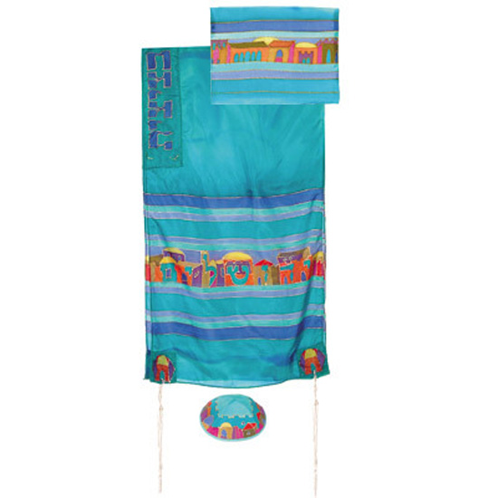 Beautifully designed silk Jerusalem Tallit by renowned Israeli artist Yair Emanuel. Size: 21 x 77 inches / 52 x 192 cm.Color: Turquoise. Optional: matching bag and Kippa. Emanuel, a graduate of the Bezalel Academy of Art and Design, lives and works in Jer #silk
