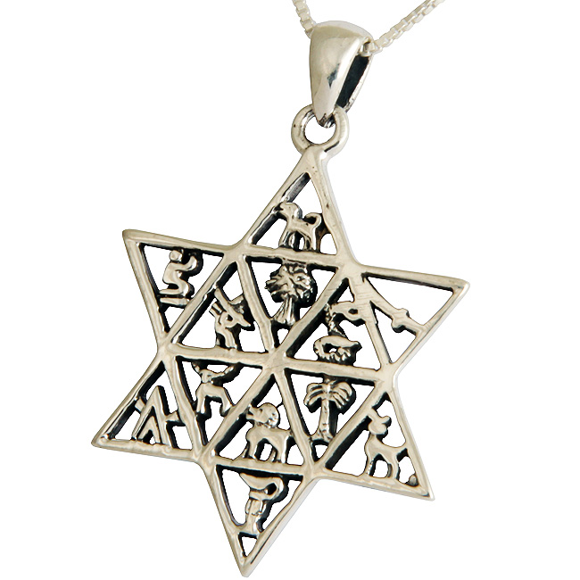 Extremly detailed sterling silver Star of David pendant featuring the emblem of the 12 tribes of Israel. Israeli made.Size: 1.2 inch diameter. The Twelve Tribes of Israel were the tribes that descended from the patriarch Jacob. Jacob had 12 #Jacob