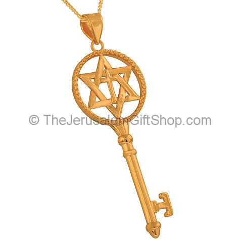 Cross inside Star of David Gold Fill Key Pendant