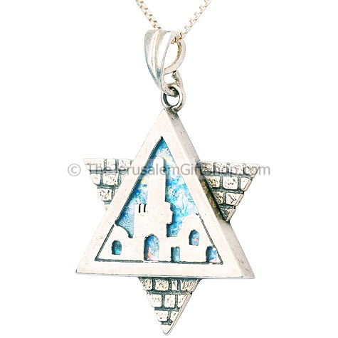 Jerusalem Roman Glass Star of David Pendant